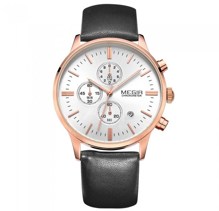 Megir Master Black/Rose Gold Silver 42mm herreur – Megir