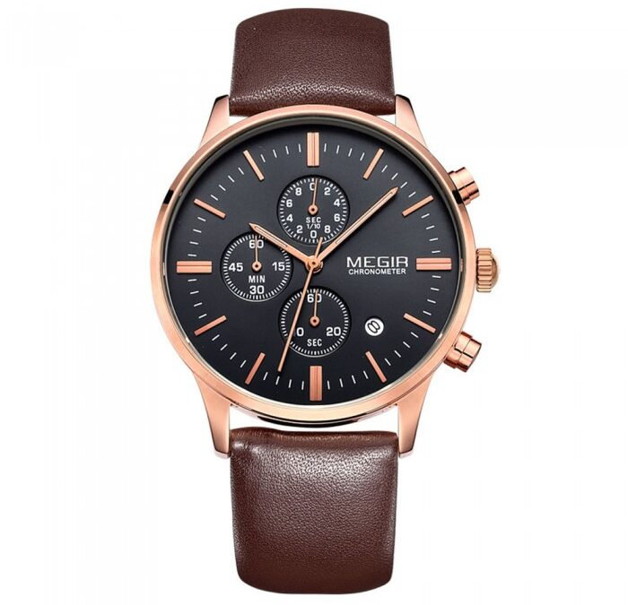 Megir Master Brown/Rose Gold 42mm herreur – Megir